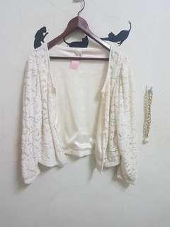 🚚 全新米白蕾絲洋裝小外套