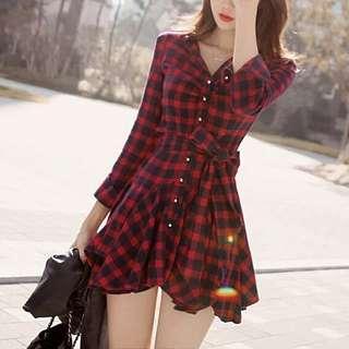 🚚 ✓ Instock Tartan Checkered Long Sleeve Dress