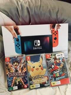 Nintendo Switch and 3 Games RRP $630