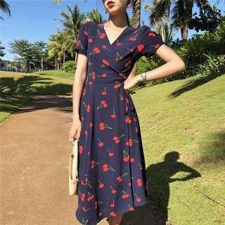 Cherry Maxi Printed Wrap Dress