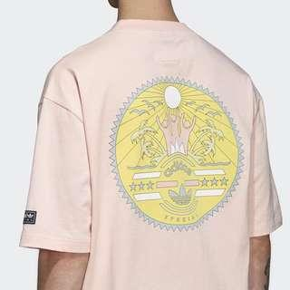 adidas spezial settend oversized graphic pink tee shirt
