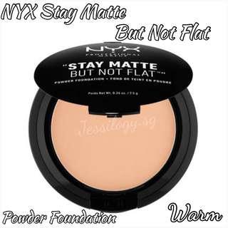 INSTOCK NYX Professional Stay Matte But Not Flat Powder Foundation in SMP17 WARM / NYX Cosmetics Stay Matte But Not Flat Pressed Powder in Warm Shade