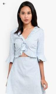 [BN] Zalora Baby Blue and White Dress