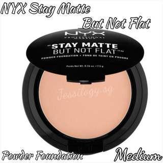 INSTOCK NYX Professional Stay Matte But Not Flat Powder Foundation SMP18 Medium / NYX Cosmetics Stay Matte But Not Flat Foundation Pressed Powder in MEDIUM Shade