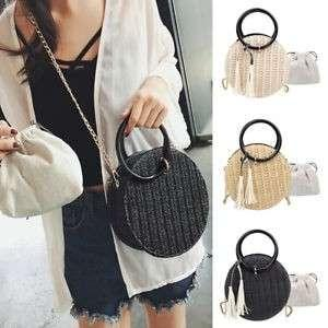 Round Circular Rattan Wicker Straw Crossbody Beach Bag