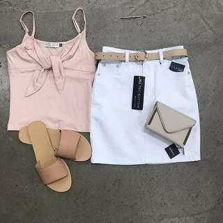 Nude tie top slides denim skirt