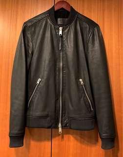 Allsaints leather bomber 騎士 皮衣 飛行外套 棒球外套