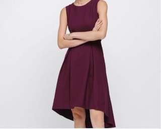 Love Bonito Alda Asymmerical Dress - Burgundy, XL