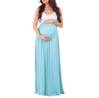 Mint Maternity Maxi Dress Sleeveless