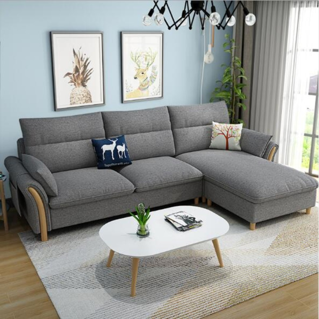 3 Seater L Shape Sofa With Fabric Cover Sofa 005 Furniture Sofas