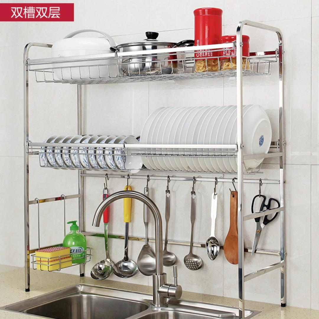 304 Stainless Steel Dual Dish Rack Over Sink Countertop With Hooks For Kitchen Home Appliances Kitchenware On Carousell