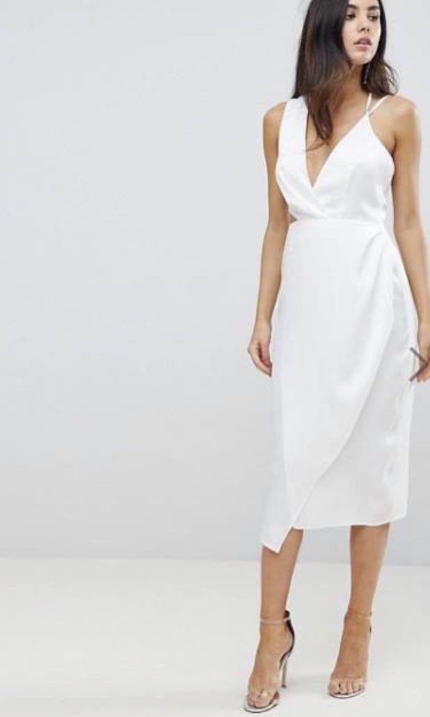 ac697b4f2b60 Asymmetrical ASOS Satin Pencil Midi Dress, Women's Fashion, Clothes ...
