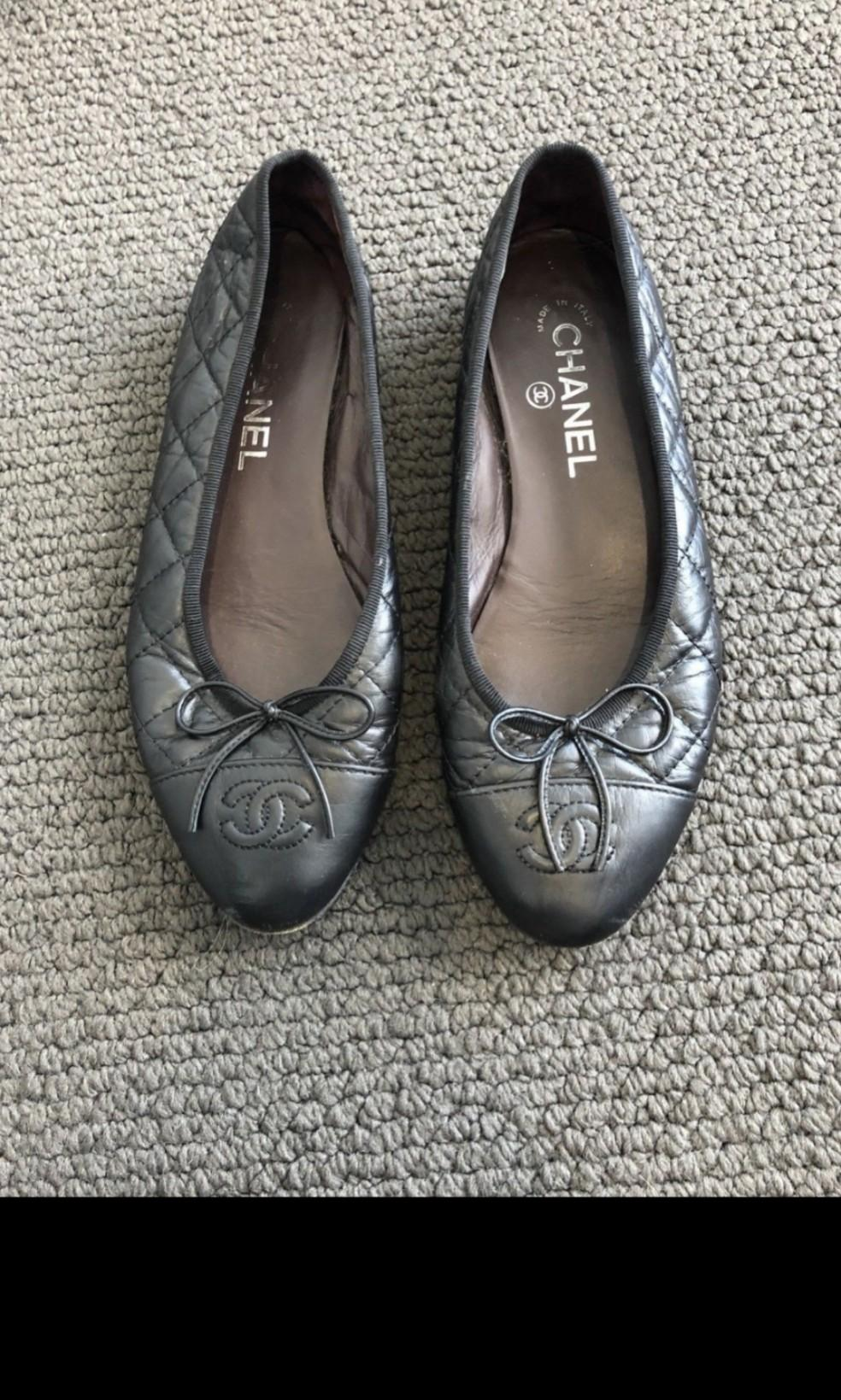 Authentic chanel ballet flats 37