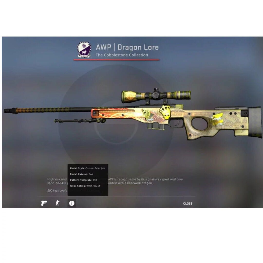 Awp Dragon Lore Factory New Toys Games Video Gaming In Game