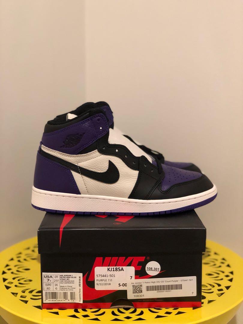 6910afa10da8a BNIB Nike Air Jordan 1 Retro High OG Court Purple Us7 GS, Men's ...