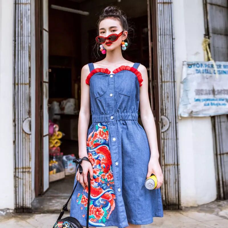 11318db396 Double Koi Fish Embroidery Chic Denim Cotton Dress