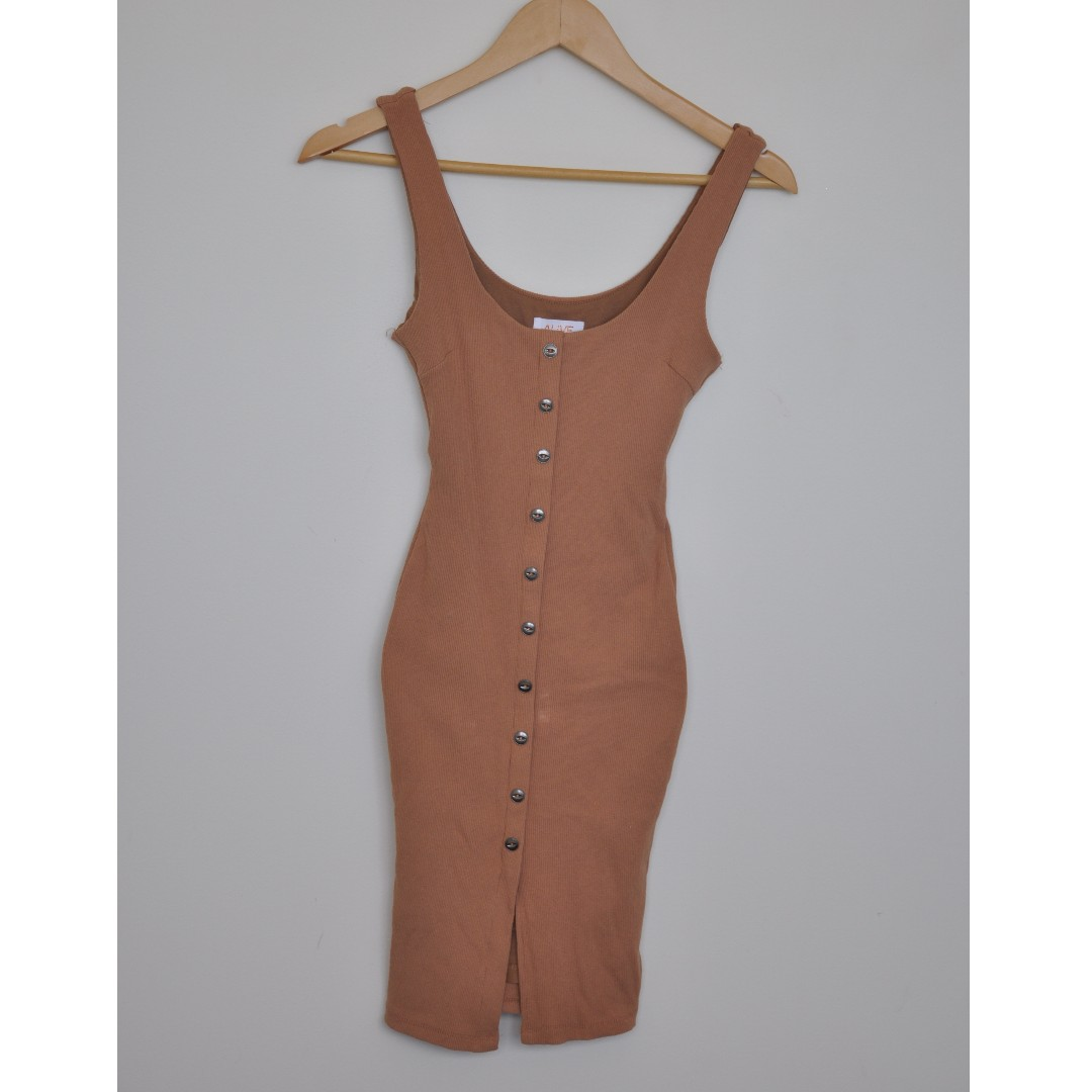 Fitted Tan Dress with Button Down Detail