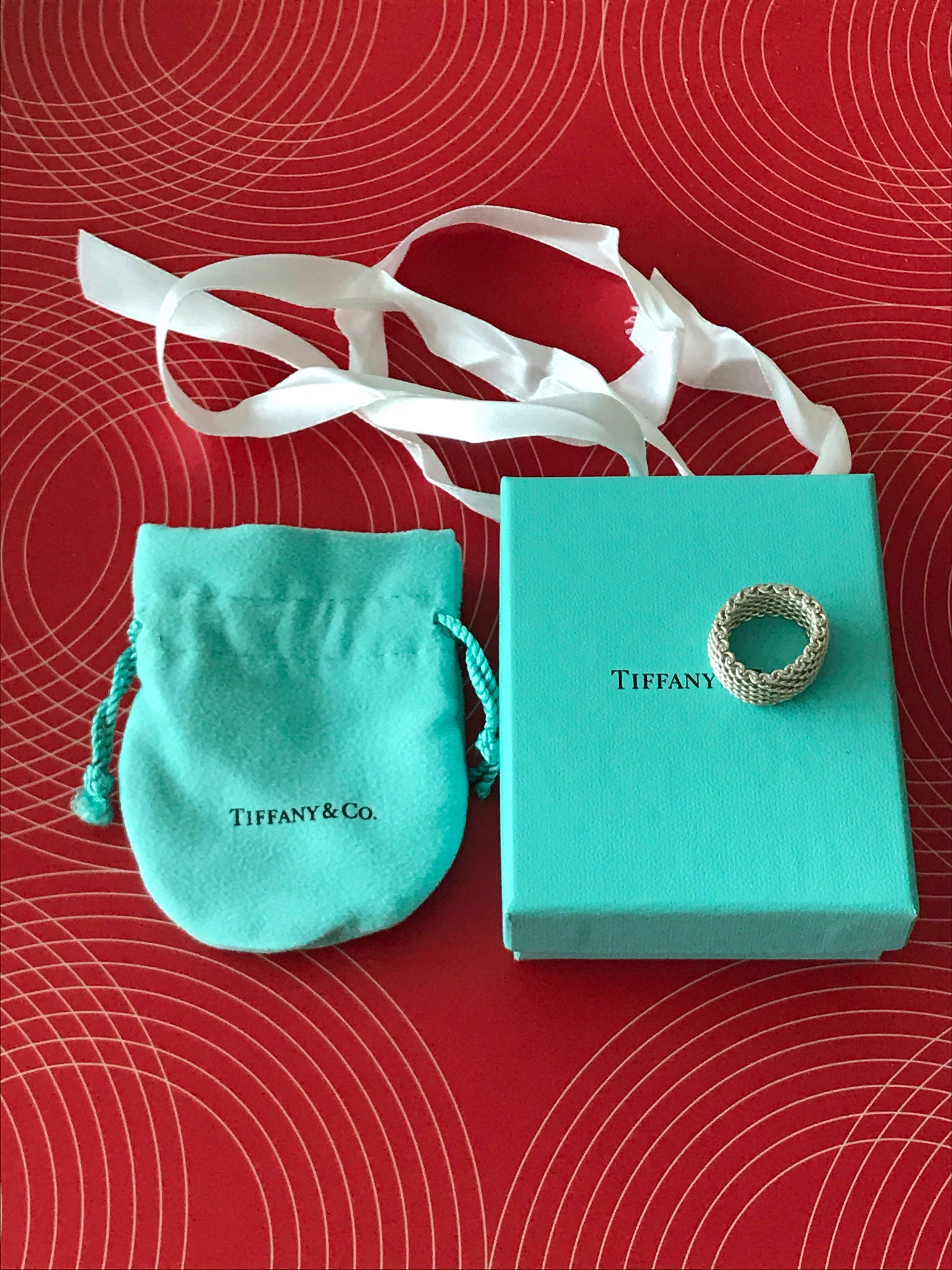 080a10889997c Genuine Tiffany & Co 925 Sterling Silver Somerset Mesh Ring Size 7/N54  Unisex