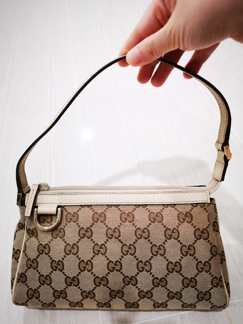 d405b078d70f Gucci GG pochette pouch with cream leather strap