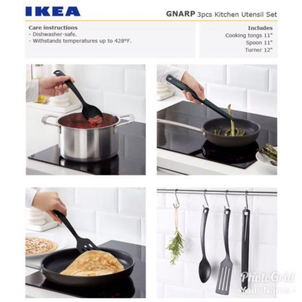 Ikea Gnarp 3 Piece Kitchen Utensil Set Black On Carousell