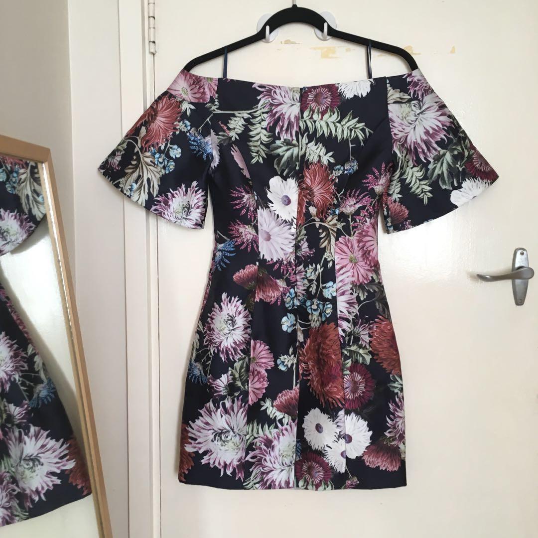 Keepsake XXS (sz 6) Mini Floral Botanical Off the Shoulder Dress