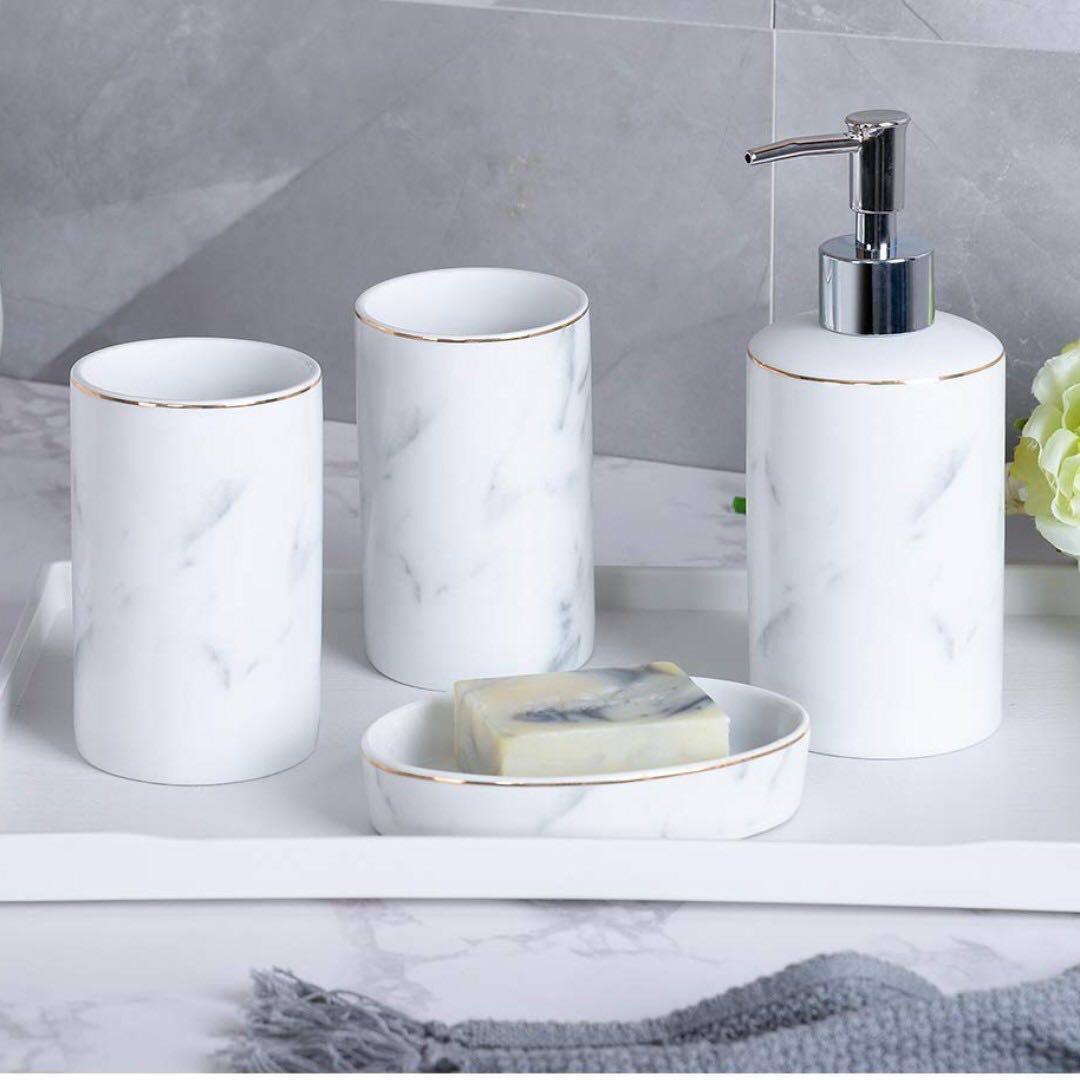 Marble Bath Accessories Set White 4pc Set Health Beauty Bath Body On Carousell