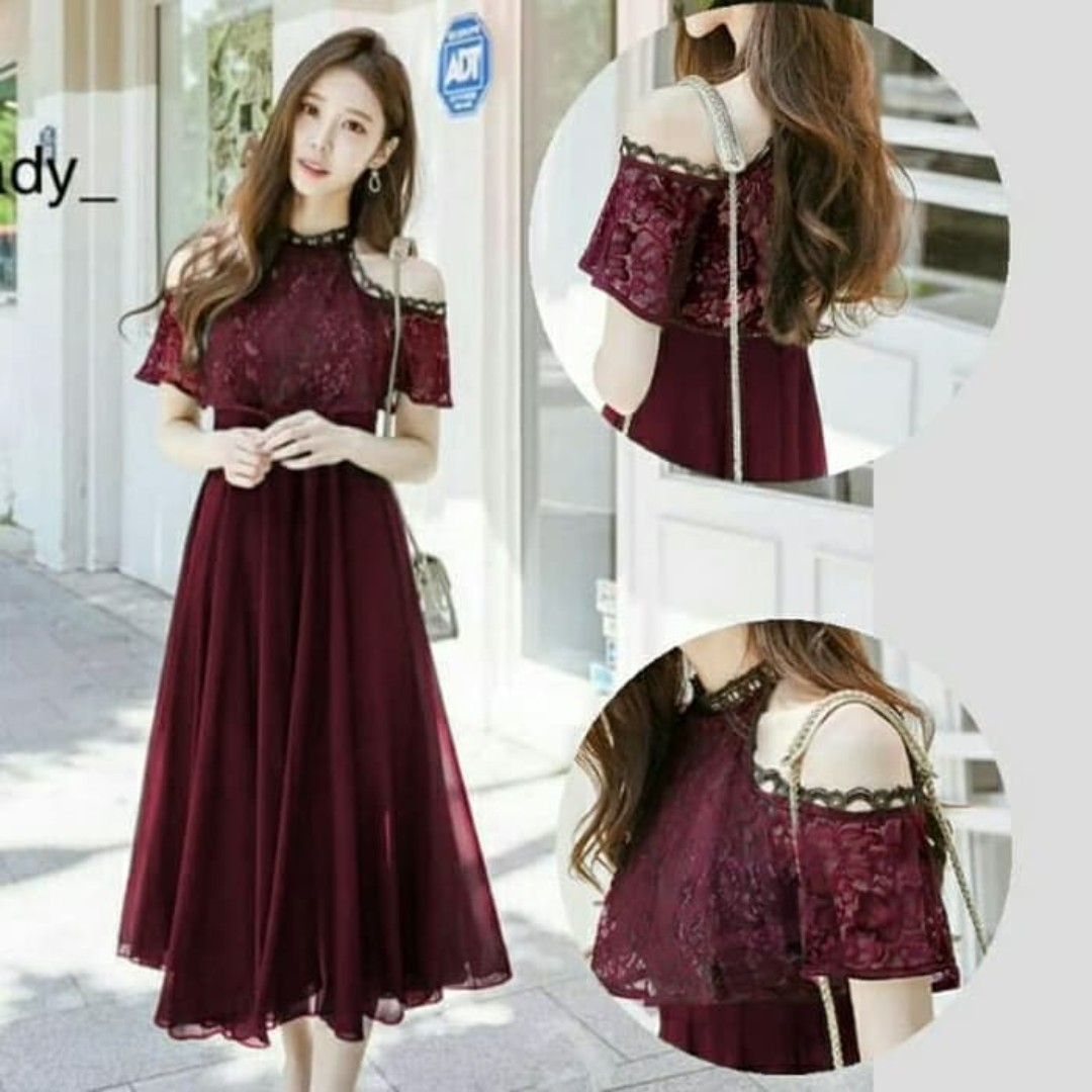 Midi Long Dress Pesta Brukat Dress Bangkok Korea Maroon Navi