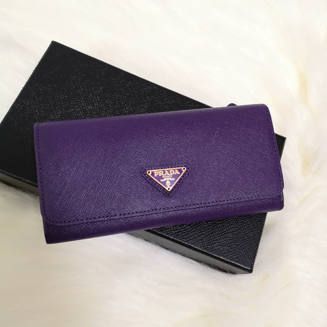 16ff86b9513c65 ... clearance on hand authentic prada saffiano triangle logo leather flap  long wallet womens fashion bags wallets