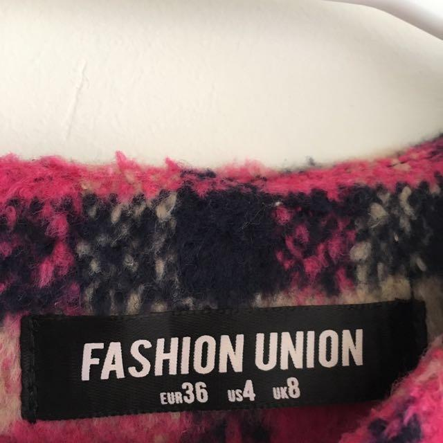[REDUCED] FASHION UNION Crop Top in Brush Check Pink Multi UK8