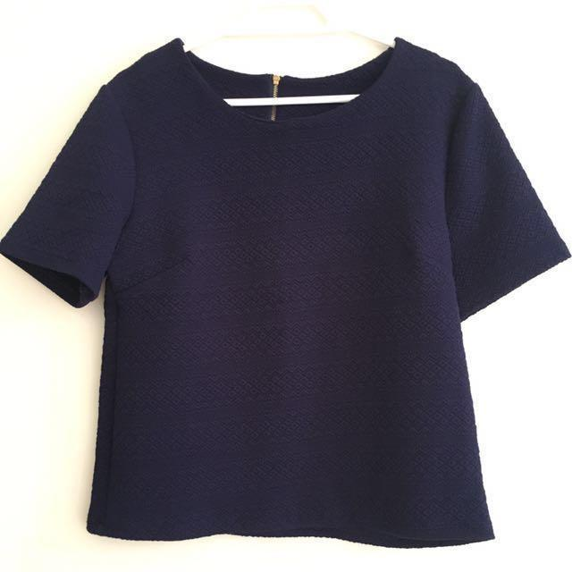 [REDUCED] Navy Blue Boxy Oversized Crop Top Blouse