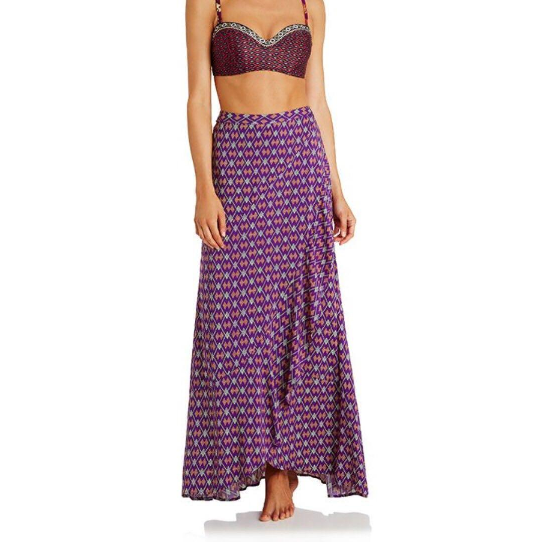 Tigerlily Kazak Skirt Sz 6 Purple Maxi Wrap Skirt with Frill