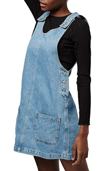 63ace2f603e Topshop Moto Denim Pinafore with Front Pockets