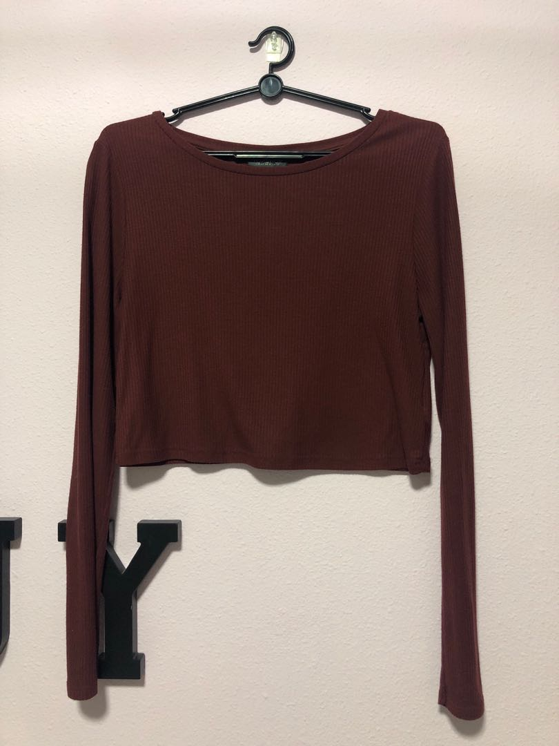 26f0b95df186c1 topshop ribbed crop long sleeve top, Women's Fashion, Clothes, Tops ...