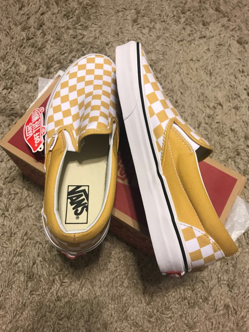 fb573280e2 Vans Ochre Checkerboard Slip-On