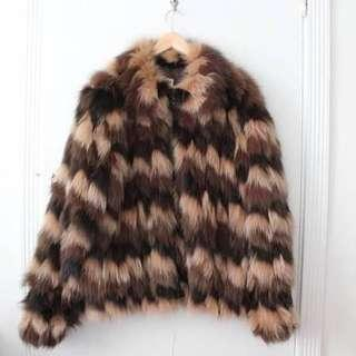 70s vintage fox fur chevron bomber