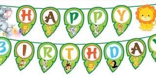 Happy Birthday Banner Zoo