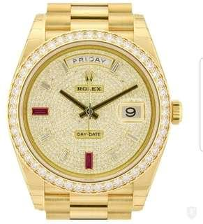 Rolex day date diamond and ruby