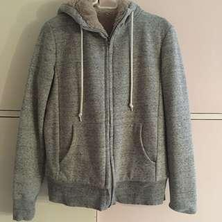 Gray Furry Uniqlo Jacket
