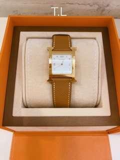 Preloved Hermes watch Gold Epsom H Heur PM GHW