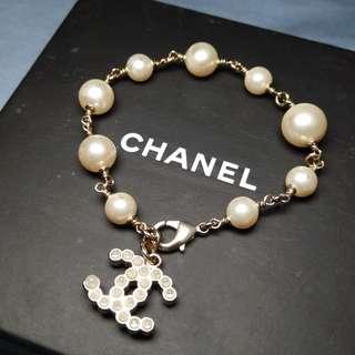 Chanel Bracelet 雙C墜飾金色珍珠手鍊手鏈