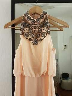 MISS SELFRIDGE Embellished Neck Pink Maxi Dress