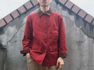 🚚 (美品)L.L.Bean燈芯絨領四口袋紅色獵裝外套