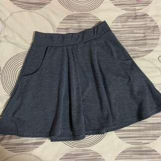Blue-Grey Skater Skirt
