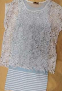 Used white lace top + light blue dress