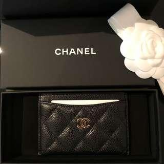 Brand new Chanel black caviar card holder with gold hardware