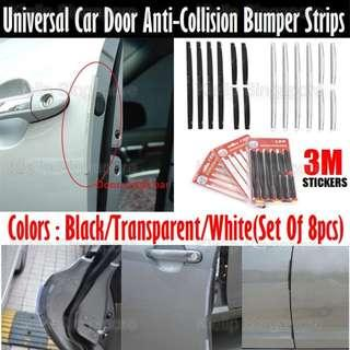 [Kibot]Universal Vehicle Door Anti-knock Protection Strips 8pcs Set/Door Guard Edge Bumper Bar Flexible 3M Strip/Protects All 4 Doors From Nick Knock Chip Scratch Dent Bump/Fit All Vehicle Doors