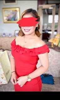 Zara red ruffled off shoulder