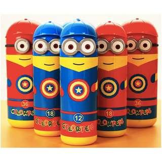 Kids Birthday Goodie Bag / Captain America Minion Water colour markers set