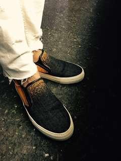 Alexander McQueen - Black Metallic/ Orange Denim Degrade/ Chris Slip-on Sneakers