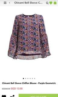 Poplook Chinami Bell Sleeve Chiffon Blouse - Purple Geometric